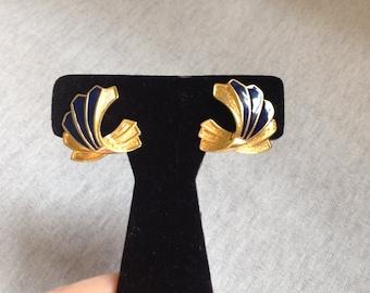 Vintage Goldtone And Blue Enameled Design Earrings