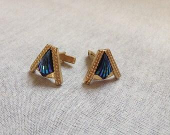 Vintage Goldtone with Blue Irridescent Design Cuff Links