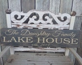 CUSTOM -CRACKLED- Lake House Sign (5.5in x 24in) - Home Decor - Perfect Gift
