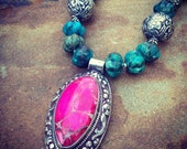Handcarved Genuine Turquoise with Hot Pink Spider Vein Jasper Nepalese Pendant Statement Necklace and Earring Set