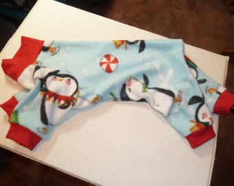 Small Colorful Winter Penguins on Light Blue Fleece Doggy Pajama, Doggy Onesie