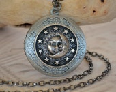 Celestial Sun Moon and Stars Locket Necklace, Long Chain Locket Necklace