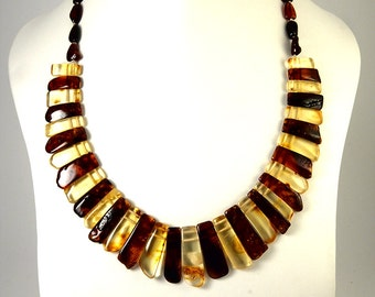 Natural Baltic Amber Necklace Collar Cognac color Transparent Flat Surface 52 cm 20 inches