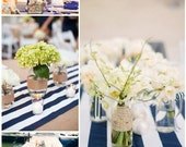FREE SHIPPING Navy Blue and White, Striped Tablecloth, Nautical, Beach Wedding, Nautical Baby Shower, CHOOSE size