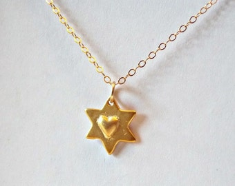 Star and Heart necklace. Everyday, simple,bridesmaids