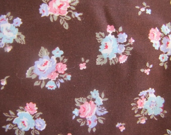 1980's Brown Calico Fabric, Brown Floral Fabric, Calico, Cotton, Flower, Floral, Pink, 1970's, Brown, Blue, Purple, Quilters Weight, Apple,