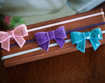 Mini sequin bow headband Set Newborn Headband Toddler Headband Photo Prop
