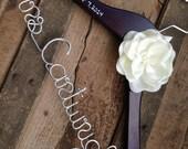 SALE Wedding Dress Hanger with Satin Flower, Many Colors, Bride Hanger, Bridal Hanger, Name Hanger, Wedding Hanger, Bride Shower Gift