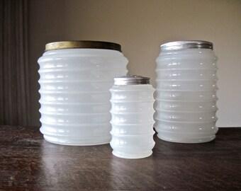 Ripple Clambroth Canisters, Hoosier Cabinet, Sellers Ripple Jar, Hoosier Container, Vintage Glass Jars, Kitchen Storage, Hoosier Jar