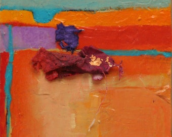 "Abstract impression of a Canyon wall in New Mexico Canyon de Chelly 5""x5""x1.5"" southwestern painting by Jan Smiley"
