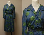 SALE / 1950's Peyton Place Blouse and Skirt Set - 2 Piece Royal Blue Set - Small / Medium