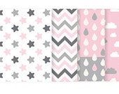 Cotton Fabric - Stars, Chevron, Raindrops or Cloud - Misty Pink Gray - By the Yard 72879