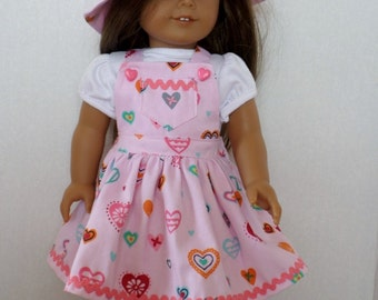 Pink Valentine hearts jumper and hat fits American girl 18 inch doll clothes