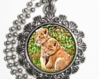 Two Lion Cubs Art Pendant, Animal Resin Art Photo Painting Charm Pendant Necklace