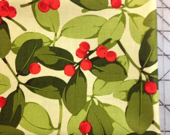 Martha Negley Poinsettia and Holly in Red -FAT QUARTER cut of Holly PWMN076 Red- Holly Berries with green leaves