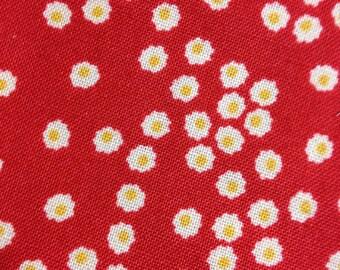 Organic Petit Fleur - Fat Quarter Cut - Polka Dot Daisy - in Red by Carolyn Gavin - Organic Cotton - 39524