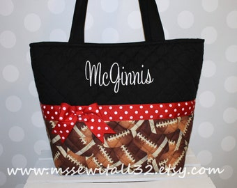 XL Quilted Football Purse / Tote / Diaper Bag