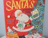 Vintage 1967 Santa's Sticker Fun Children's Activity Book Whitman Christmas