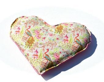 Natural Heating Pad, , Peacock, hot pink flannel, Heart Neck and Sinus Heat Pack. Microwavable Heating Pad,