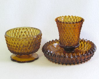 Three Piece Diamond Cut Amber Glass Candle and Candy Dish Collection - Vintage Home Decor