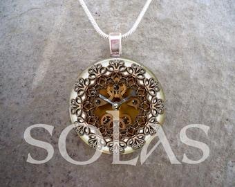 Steampunk Necklace - Glass Pendant Jewelry - Steampunk 1-9 - RETIRING 2017