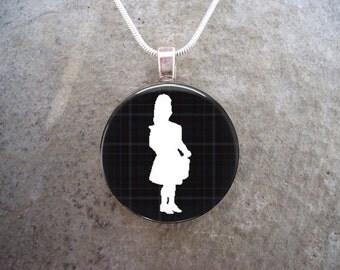 Celtic Jewelry - Glass Pendant Necklace - Highland Bagpipe Jewellery - Drummer on Black Tartan - RETIRING 2017