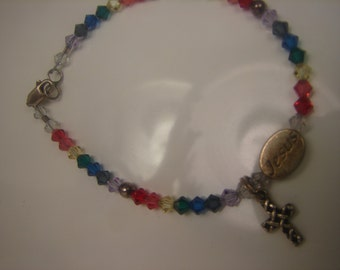 Colorful Crystal Bead Bracelet with Sterling Jesus Bead and Cross 1079.