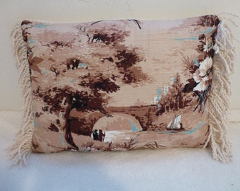 Vintage Barkcloth Pillow with Fringe and Vintage Chenille Back