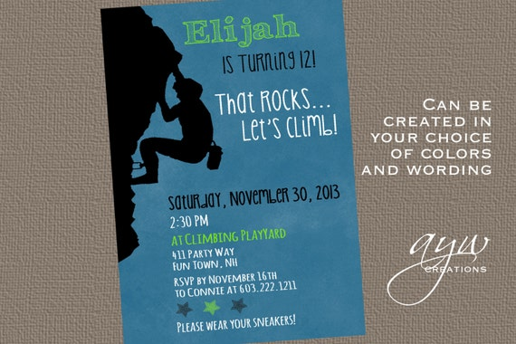 Rock climbing Birthday Party Invitation Boy Rock Climbing Party