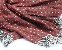 Big Linen Scarf SHIPPING WORLDWIDE  Red color Polka Dot Two side Duplex Warm Unisex  shawl Wrap Washed Soft Spring Summer