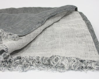 Big Pure Linen Scarf  SHIPPING WORLWIDE Two side Scarf Woman Scarf Mens Unisex Grey and White Washed Softened SR44 Spring Summer