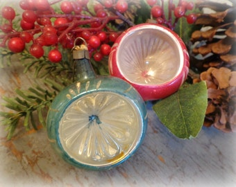 vintage magenta pink & aqua blue indented mercury glass christmas tree ornaments / set of 2