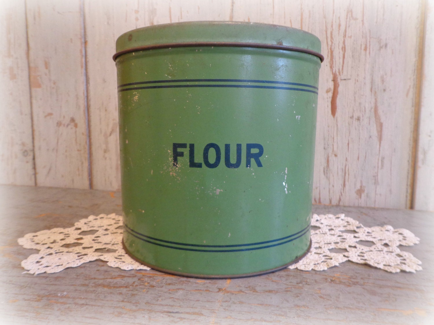 vintage flour canister 1940 39 s green blue tin