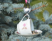 Tea Cup Bird Feeder with Hand Stamped Bent Spoon- Thank You Birdie Much- Perfect  Thank You Gift