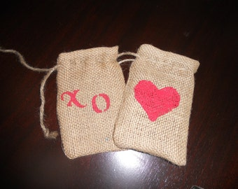 SET of TEN Burlap Heart and XO Gift Favor Bags