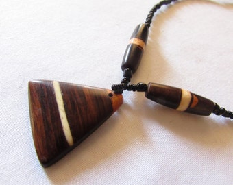 Natural Wood and Bead Necklace Boho  African Woodland