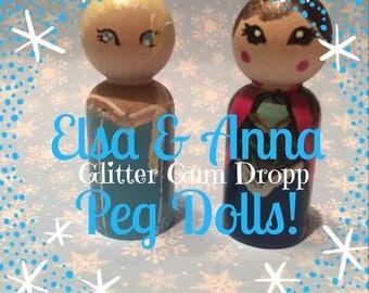 Frozen Elsa, Anna Set Wooden Peg Doll great Cake topper
