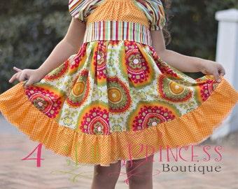 Girls peasant dress , fall dress , ruffled peasant dress , twirly peasant dress