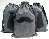 Groomsmen Gift Bag - Mens Gift Bag - Mens Gift Wrap - 8x12 Mustache, Necktie, or Bowtie Pinstripe Gift Bag