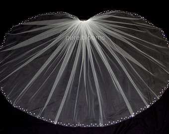 READY TO SHIP Wedding Veil with Crystal Edge, Elbow Length (30 inch) Crystal Bridal Veil, Matte Diamond White, Style 3005R
