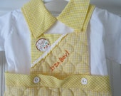 Vintage yellow gingham one piece outfit, It's a boy