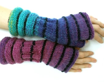 Purple-turquoise blue striped wrist warmers, striped fingerless mittens, fingerless gloves, arm warmers, thumbless mittens