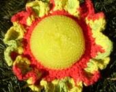 SCRUBBIE -- Sunflower Bright Yellow Mesh Scrubber - Kitchen--Bath - Cotton Yarn Peace Red--Holiday Stocking Stuffer