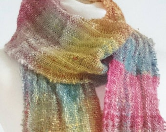 Colour 101 - Handwoven long scarf with handspun wool yarn -  textured wool unisex scarf - red yellow blue handwoven scarf