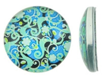 6pc 14mm glass cabochons with printed flower patterns-9042