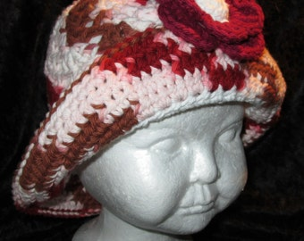 Handmade crochet cotton hat with 2 flower clips