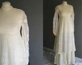 70s Edwardian Style Crochet Lace Wedding Dress 6-8 XS