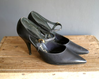 50s Leather Stiletto Heel Mary Jane Shoes UK 5 Euro 38 USA 7.5