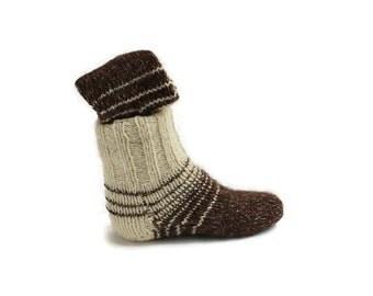 Women white brown socks. Merino and Alpaca hq Wool yarn. Unisex Knitted Warm socks. S size. Wool socks by #Nikton on Etsy
