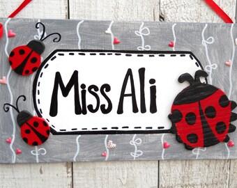 3-D Lady bug Personalized name sign/ ladybug cutouts